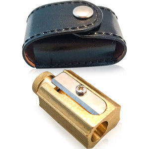 Brass Pencil Sharpener w Leather Case - Wynwood Letterpress  - 1