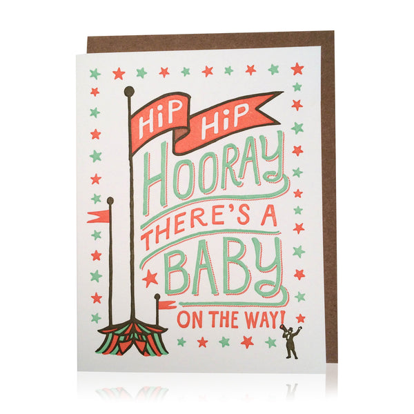 Hip Hip Hooray Baby Card - Wynwood Letterpress