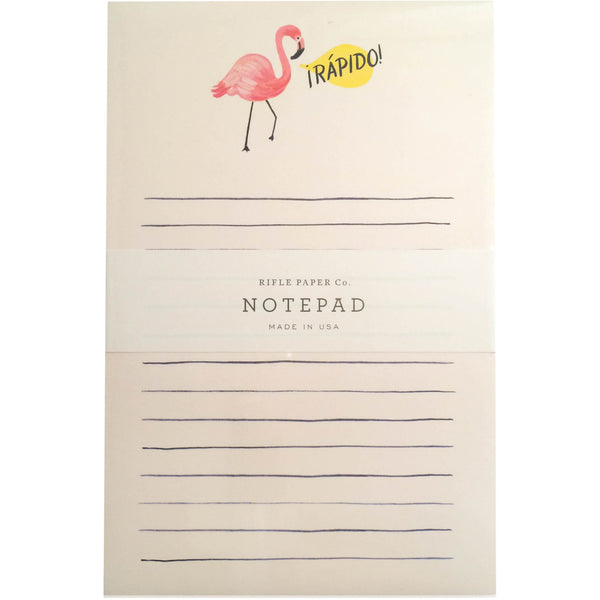 Rapido! Flamingo Notepad - Wynwood Letterpress