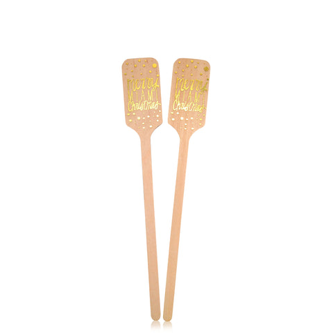 Merry Miami Christmas Foil Stamped Drink Stirrers - Wynwood Letterpress