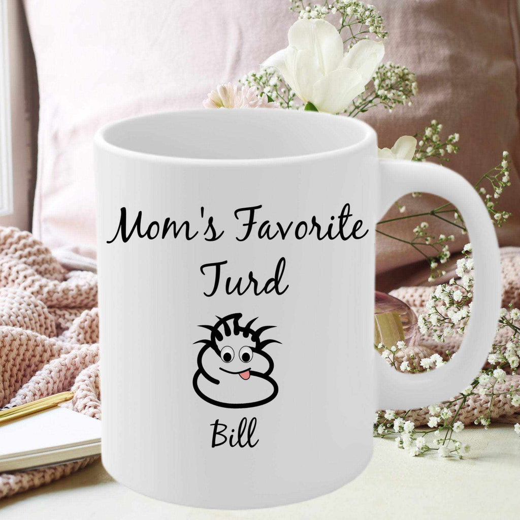 Personalized Funny Mom Gift, Mom Coffee Mug, Mom's Favorite Turds , Mother's Day Gift for Mom, Mom Personalized Gifts Mug - TheKiddiCo