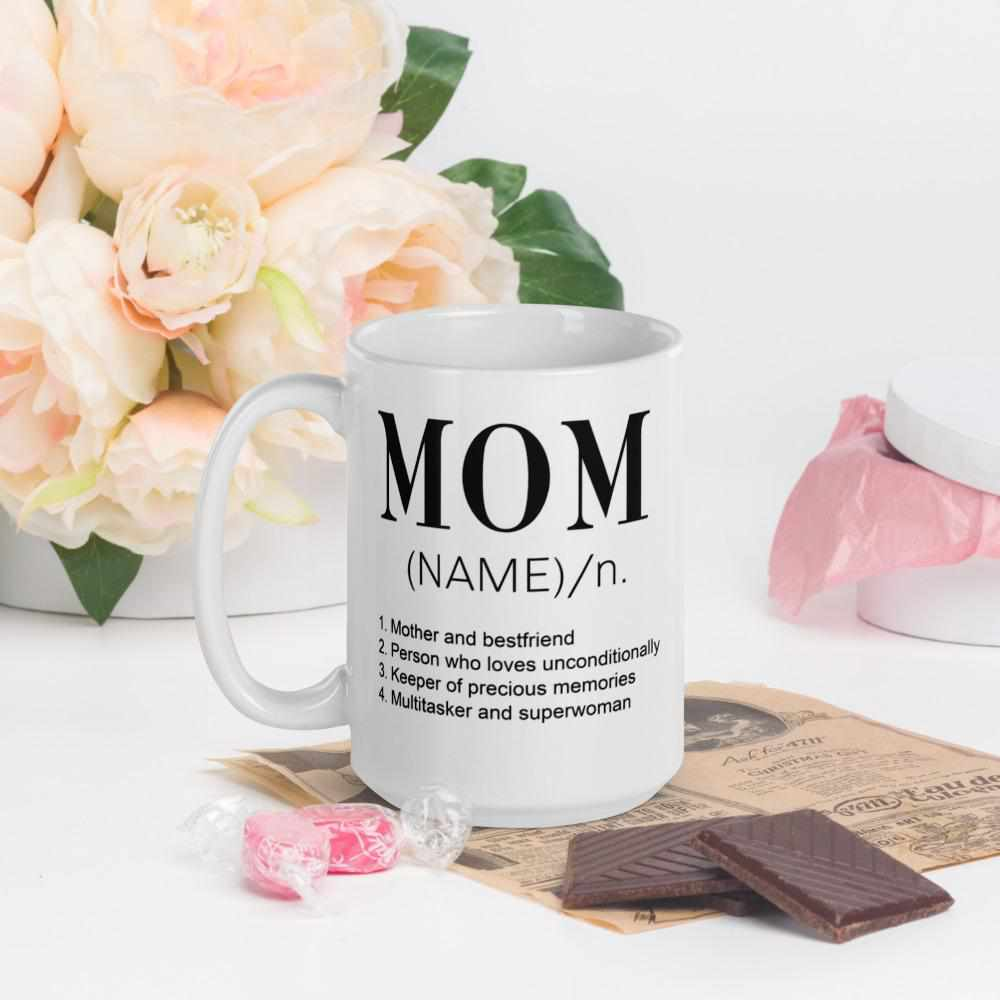 Mom Definition Personalized White Glossy Mug