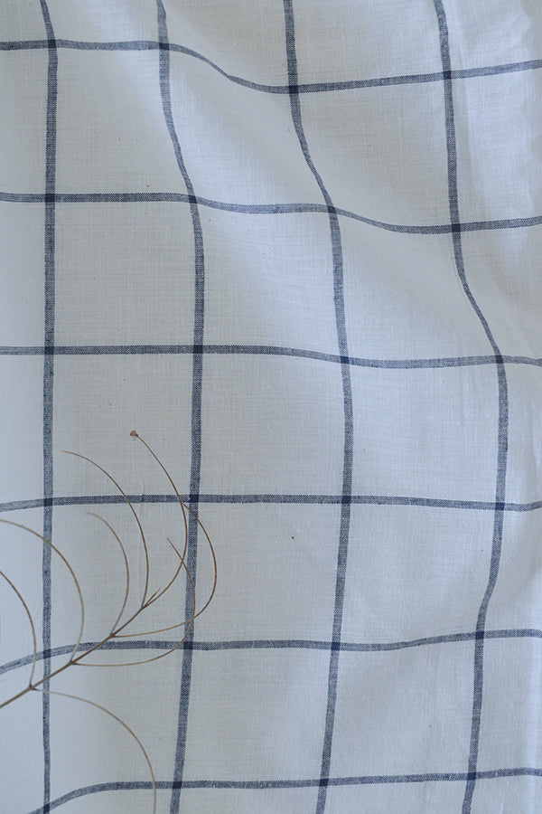 100's Handloom Cotton (White & Indigo Check)