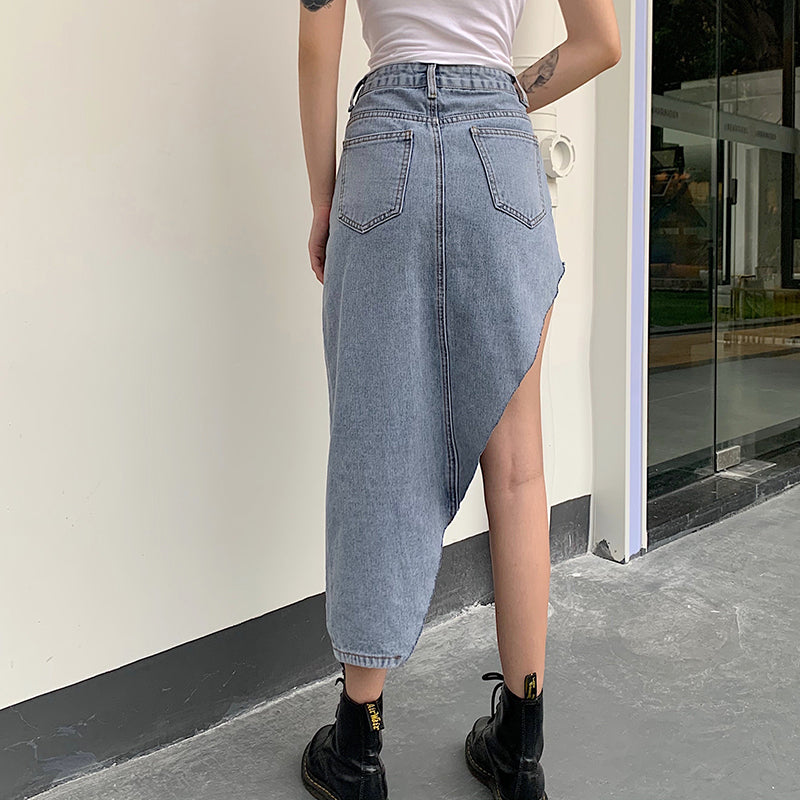 sliced denim skirt