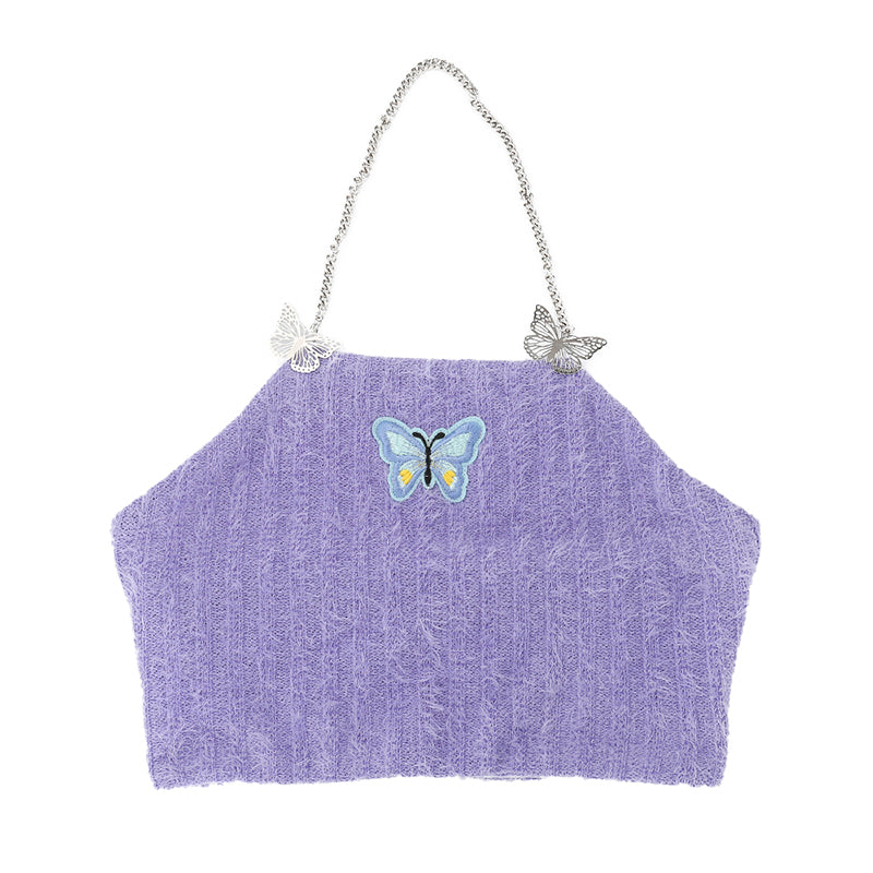 butterfly embroidered faux fur top