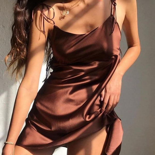 Satin Tie-Shoulder Dress