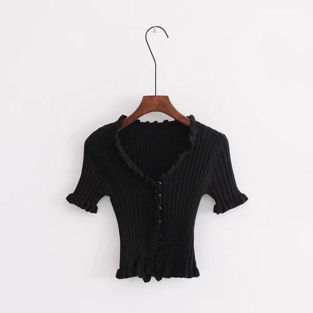 Frilled Button-Front Top