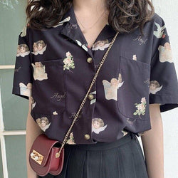 angel print retro shirt