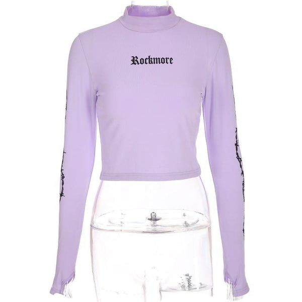 Purple Harajuku Turtleneck Top
