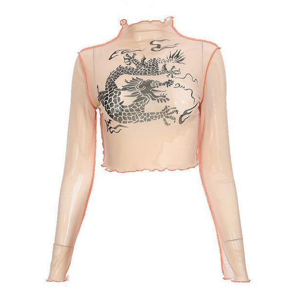Dragon Pattern Mesh Top