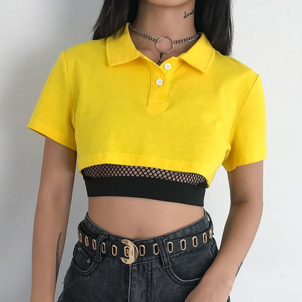 Yellow cropped shirt