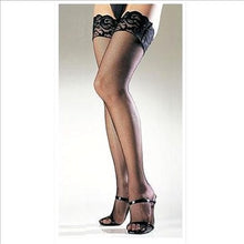 Load image into Gallery viewer, Stay Up Lace Top Spandex Fishnet Thigh Highs 9122- Black
