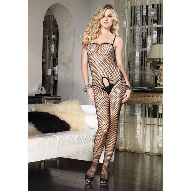 Industrial Net Bodystocking With Keyhole And Buckle Accent One Size Blk