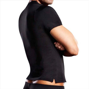 Men's Microfibre V-neck Tee - Black L/xl