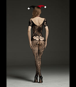 Crutchless Short Sleeved Body Stocking With Cut Out And Lace Design Black