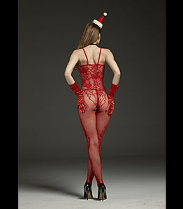 Crutchless Red Spaghetti Strap Body Stocking With Lace Detail