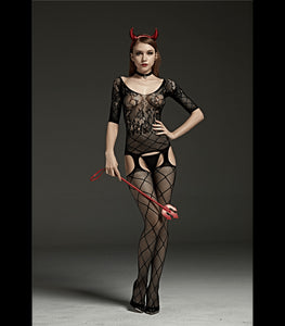 Crutchless Off The Shoulder Body Stocking With Garter And Lace Design Black