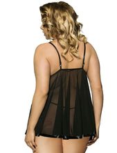 Load image into Gallery viewer, Black Floral Bra Babydoll (22) 6xl