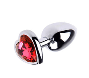Heart Jeweled Butt Plug Small Red