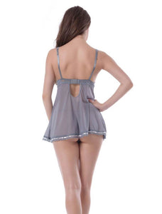 Grey Babydoll Lace Trim (12-14) Xl