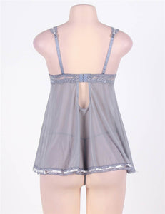 Grey Babydoll Lace Trim (16-18) 3xl