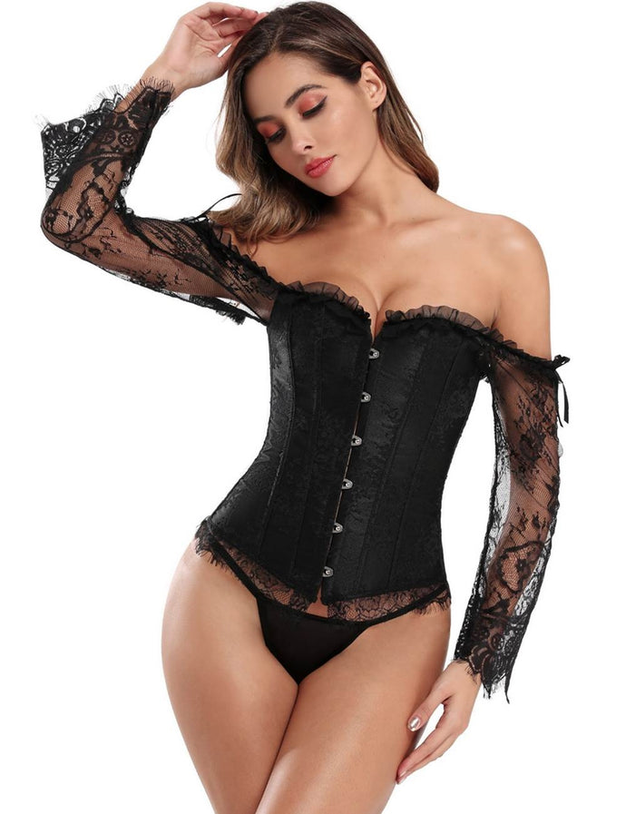 Black Corset W/ Lace Sleeves (14) Xl