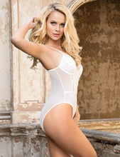 Load image into Gallery viewer, White Eyelash With Lace Splice Bodysuit (12-14) Xl