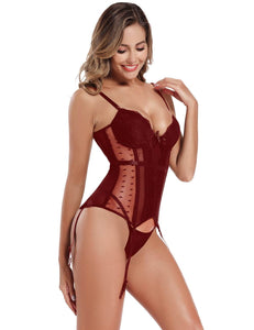 Deluxe Satin & Lace Corset Red (22) 5xl