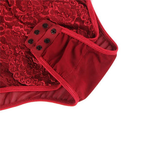 Red Eyelash With Lace Splice Bodysuit (20-22) 5xl