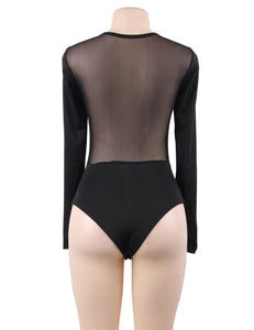 Black Wind Button Transparent Bodysuit (12-14) Xl