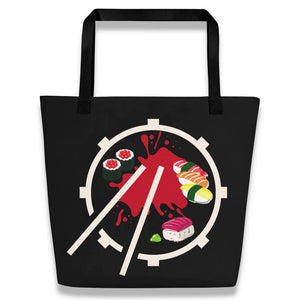 Gifts For Drummers- black custom beach tote bag with a snare drum and sticks forming a sushi plate and red sauce- Spicy Jams