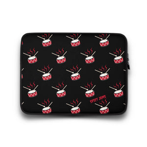 Spicy-Jams-Black neoprene laptop sleeve 13 inch- Snare drum pattern print-Gifts For Drummers