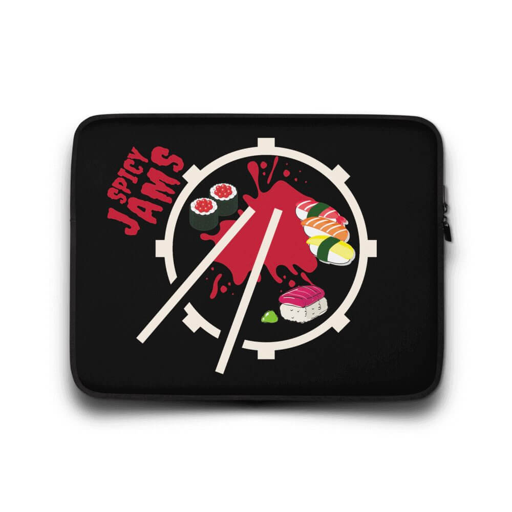 Gifts For Drummers- black neoprene laptop sleeve 13 inch with a snare drum and sticks forming a sushi plate with maki and red sauce- Spicy Jams