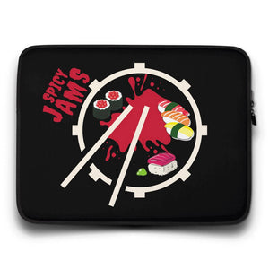 Gifts For Drummers- black neoprene laptop sleeve 15 inch with a snare drum and sticks forming a sushi plate with maki and red sauce- Spicy Jams