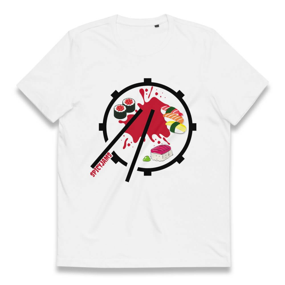 Gifts For Drummers- white sushi shirt with a snare drum and sticks forming a sushi plate with maki and red sauce- Spicy Jams
