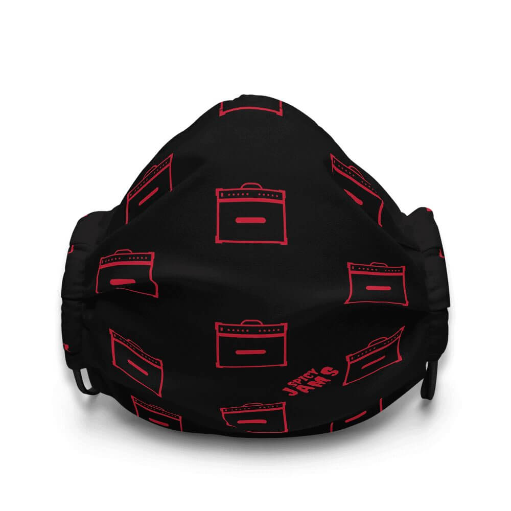 Gifts For Guitar Players and Rock Fans- Guitar amp patterns- Red lined Marshall amplifier on black face mask- Spicy Jams