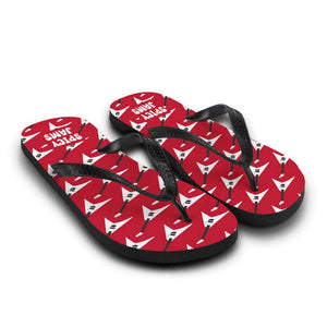 Gifts For Guitar Players- electric guitar pattern- white Jackson flying v on red rubber-soled rock flip flops - Spicy Jams