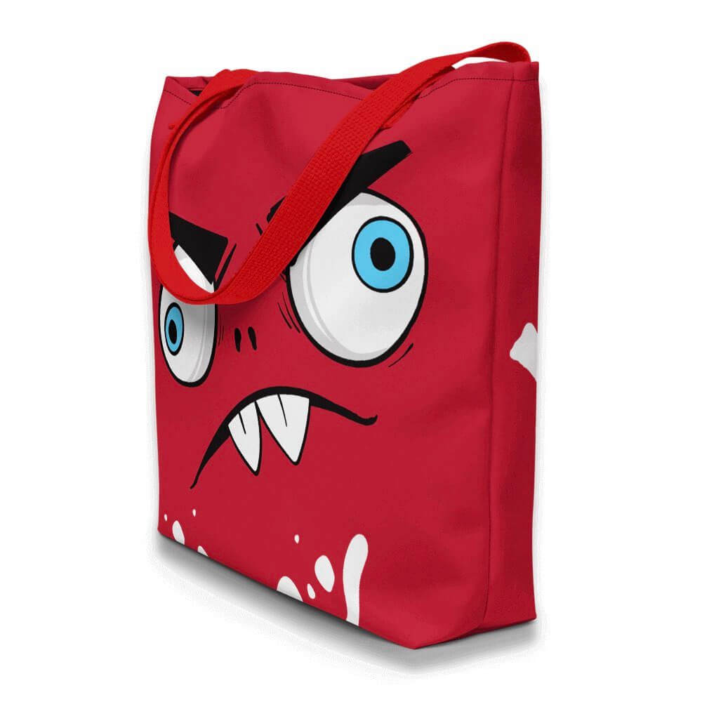 Gifts For Rock Fans- Zaccio the monster rocker- red brand's mascot-  red custom beach tote bag- Spicy Jams