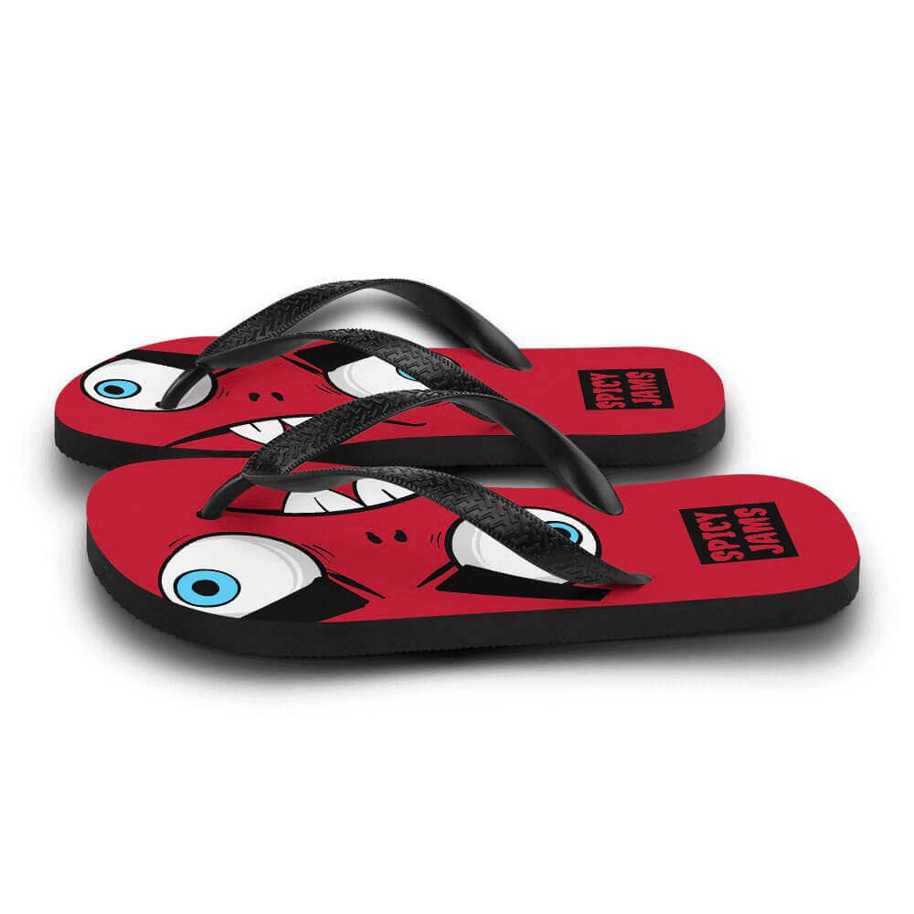 Gifts For Rock Fans- Zaccio the monster rocker-brand's rock mascot- printed on red rubber-soled- flip-flops— Spicy Jams