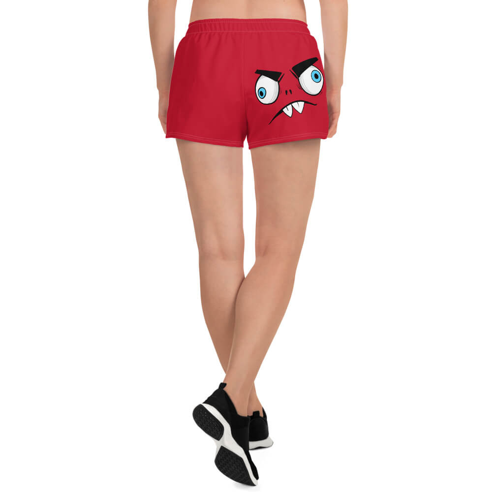 Gifts For Rock Fans- Zaccio the monster rocker-brand's rock mascot- printed on red women's athletic beach shorts- Spicy Jams