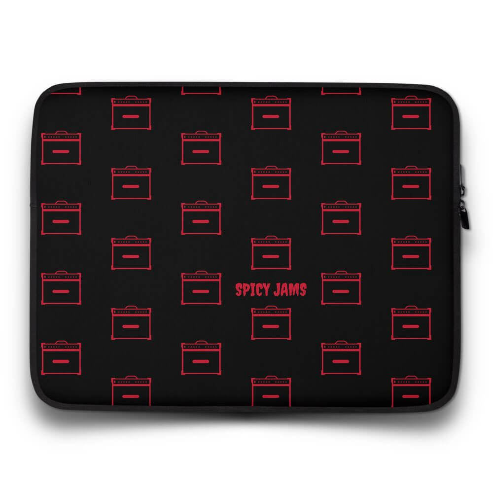 Spicy-Jams-Black neoprene laptop sleeve 13 inch- Red Marshall Rock Amps pattern print-gifts for guitar players