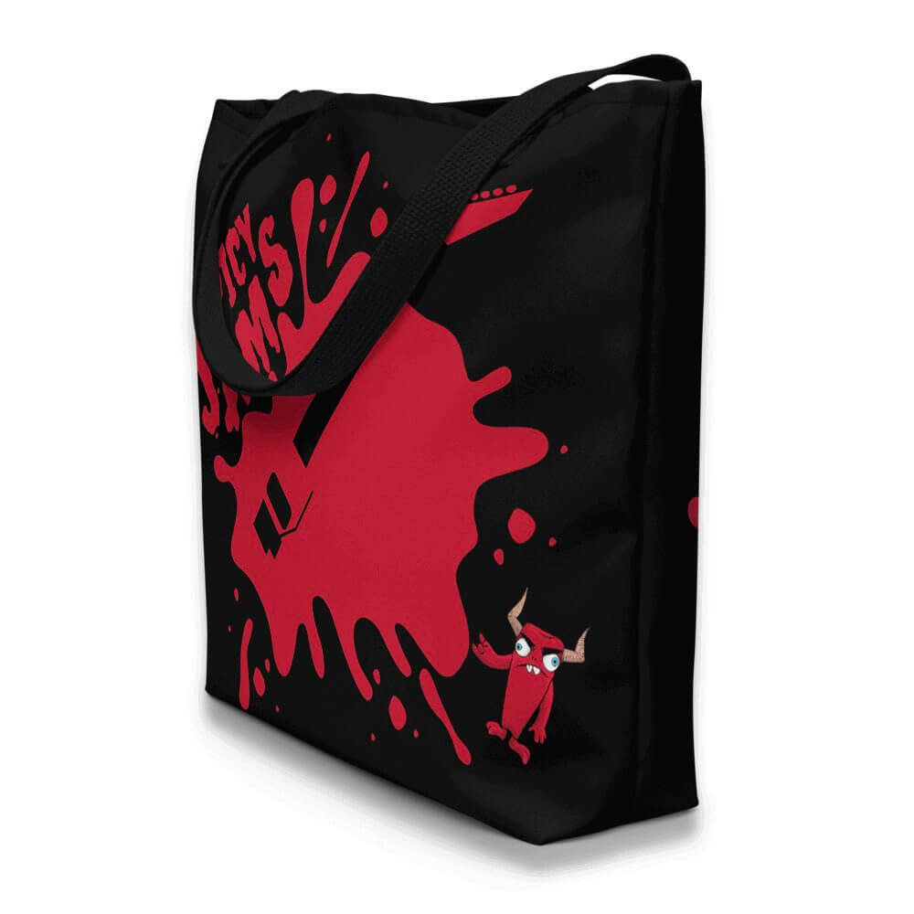 Gifts for Guitar Players- Zaccio the monster rocker with red Jackson flying V guitar on black custom beach bag- Spicy Jams