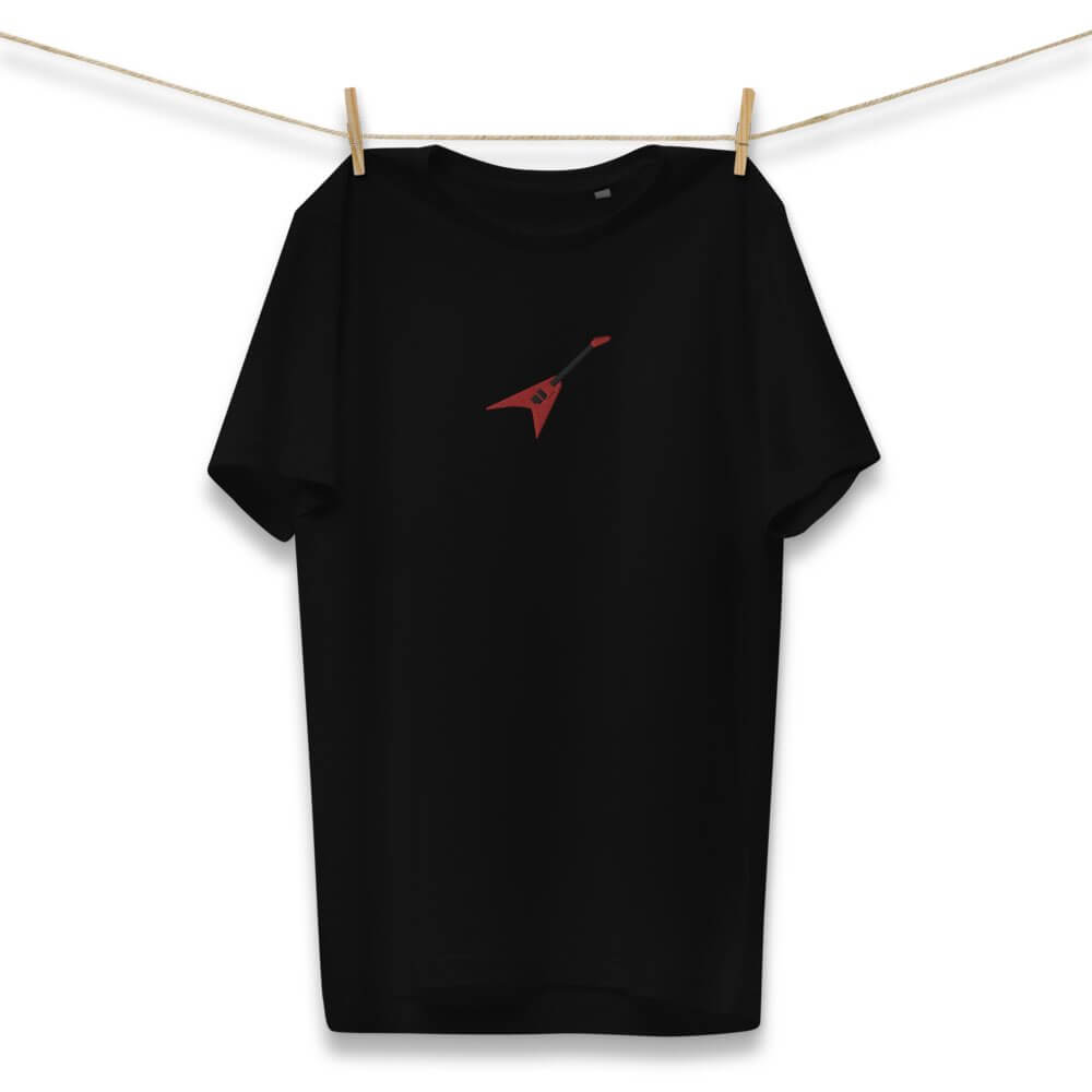 Gifts for Guitar Players-  Red Embroidered Jackson Flying V - Black Organic T Shirt- Spicy Jams