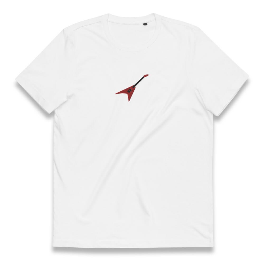 Gifts for Guitar Players-  Red Embroidered Jackson Flying V - White Organic T Shirt- Spicy Jams
