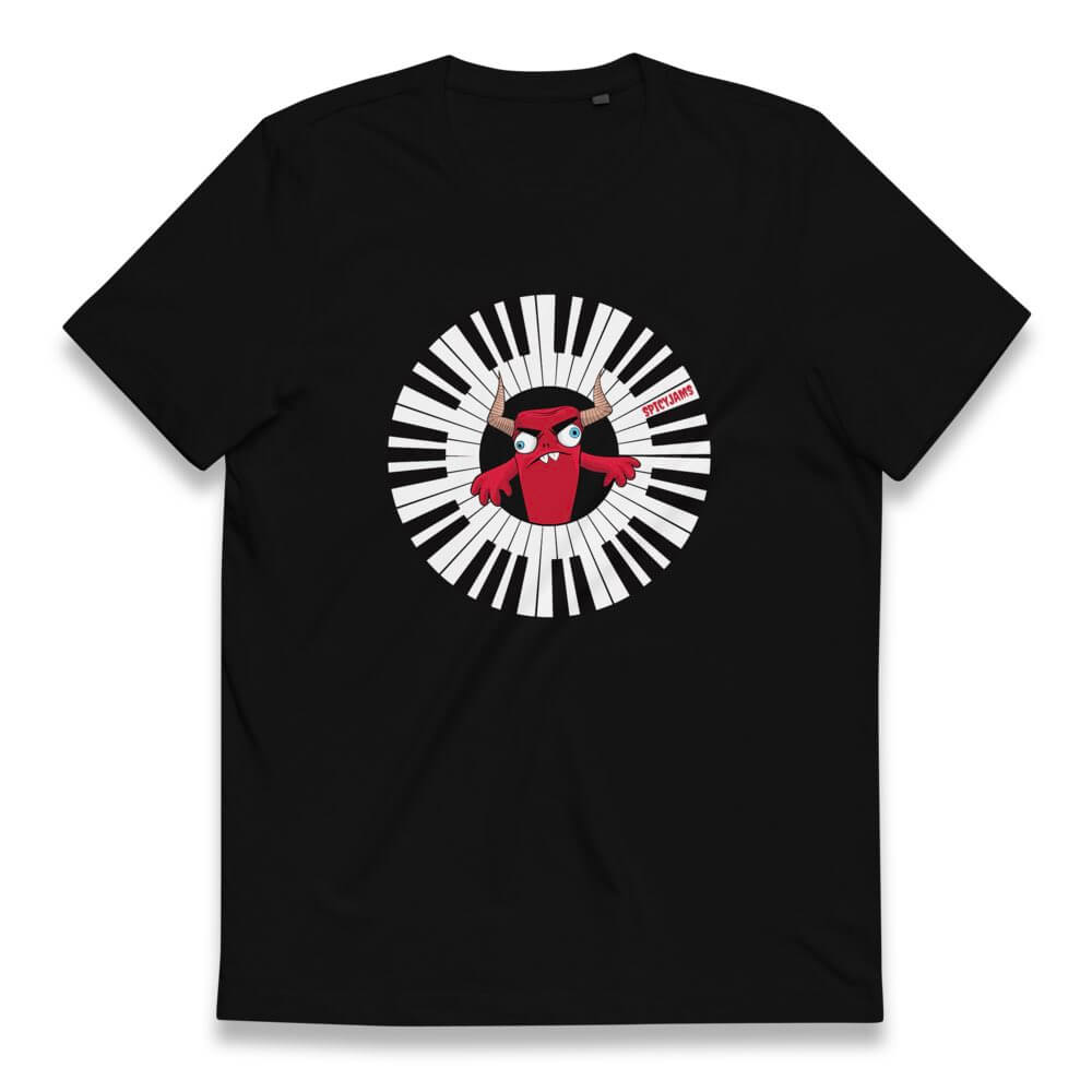 Gifts for piano players- black synth tshirt of a red monster mascot playing a piano arc circular keyboard-Spicy Jams