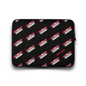 Gifts for piano players-Red synthesizer-keyboard pattern - black neoprene laptop sleeve-13 inch-SpicyJams