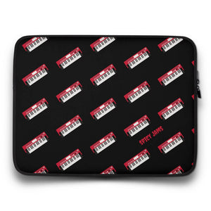 Gifts for piano players-Red synthesizer-keyboard pattern - black neoprene laptop sleeve-15 inch-SpicyJams
