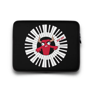 Spicy-Jams-Black neoprene laptop sleeve 13 inch- Piano Arc Wizard-gifts for keyboard players