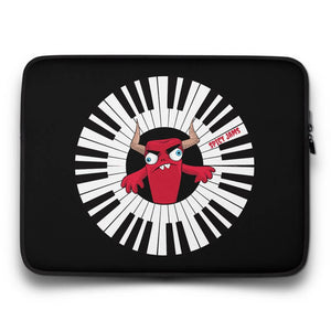 Spicy-Jams-Black neoprene laptop sleeve 15 inch- Piano Arc Wizard-gifts for keyboard players