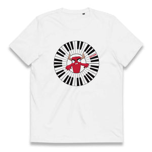 Gifts for piano players- white synth tshirt of a red monster mascot playing a piano arc circular keyboard-Spicy Jams